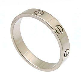 Auth Cartier Mini Love Ring EU#57 US#8.5 White Gold 18k Box Case Free ship