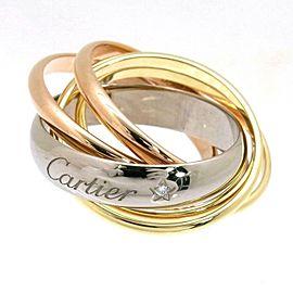 Auth Cartier Trinity Diamond label Ring EU#57 US#4.25 White Rose Yellow Gold 18k