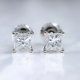 Princess Diamond Solitaire Stud Earrings1.09 tcw 18k White Gold Certificate
