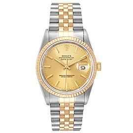Rolex Datejust Steel 36mm Yellow Gold Fluted Bezel Mens Watch 16233