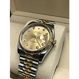 Rolex Datejust 116233 Champagne Diamond Dial 18K Gold & Steel 2014 Box Papers