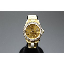 Rolex Ladies President Datejust 18K Yellow Gold 69168 Diamond Dial & Bezel