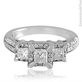 14K White Gold & Diamond 3-Stone 1 Carat Engagement Wedding Ring - $4690 AGS Cer