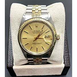 Rolex Datejust 16013 Champagne Dial 14K Yellow Gold & Stainless Steel Mint Band