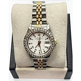 Rolex Ladies Date 69173 White Dial Diamond Bezel 18K Yellow Gold & Stainless