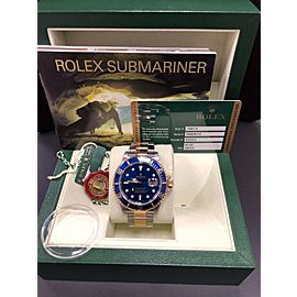 Rolex Submariner 16613 Blue 18K Yellow Gold & Stainless Steel Box & Papers 2007