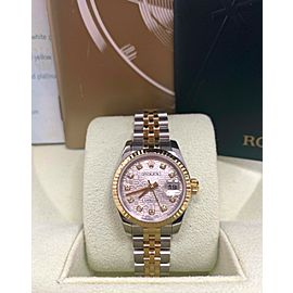 Rolex Ladies Datejust 179173 Jubilee Diamond Dial 18K Gold & Steel Box Paper