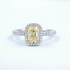 Yellow Cushion Platinum Diamond Engagement Ring 1.54 tcw Halo 18k Yellow Gold