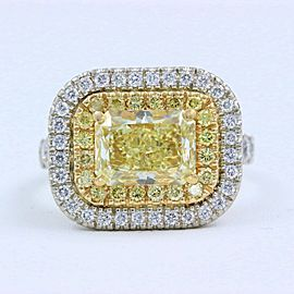 Fancy Light Yellow Radiant Diamond Engagement Ring 18k Gold 5 ctw