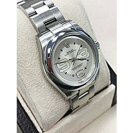 Rolex Midsize 177200 31mm Oyster Perpetual Stainless Steel Silver Dial Box Paper
