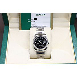 Rolex Date Stainless Steel 115234 Original Factory Diamond Dial Box & Papers