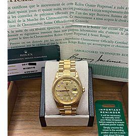 Rolex 1807 President Day Date Original Diamond Dial 18K Yellow Gold Box & Paper