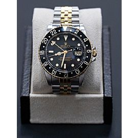 1980 Rolex GMT Master 16753 18K Yellow Gold & Stainless Steel Black Dial