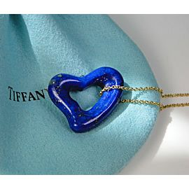 Tiffany & Co Peretti Large Lapis Lazuli Open Heart Pendant 18K Chain RARE 23mm