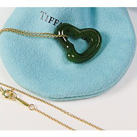 Tiffany & Co Peretti Large Green Jade Open Heart Pendant 18K Chain RARE 23mm