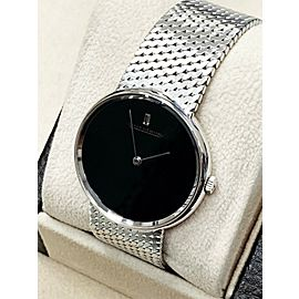 Jaeger Lecoultre 18K White Gold Black Dial & Diamond Hour Marker