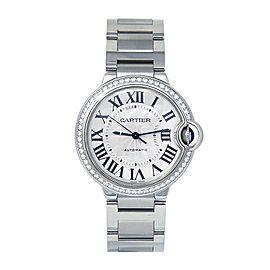Cartier Ballon Bleu Stainless Steel Diamond Bezel Automatic Lady Watch W4BB0017