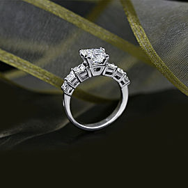 Platinum AGI Certified Engagement Ring featured with 3.67ct TCW Diamonds