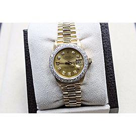 Rolex Ladies President 18K Yellow Gold 6917 Diamond Dial & Diamond Bezel