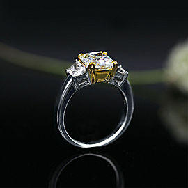Platinum and 18k Y Gold AGI Cert. Cocktail Ring featured with 4.01ct TCW Dia-s