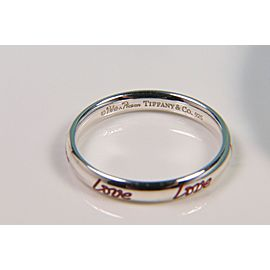 \Tiffany & Co. Picasso Graffiti Love Band Ring Silver & Red Enamel Size 6