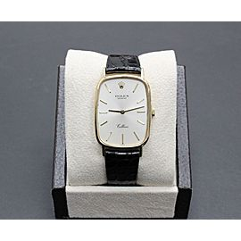 Rolex Cellini 4113 18K Yellow Gold with Black Leather Band