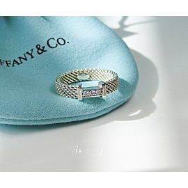 Tiffany & Co. Somerset Narrow Ring Band with Diamonds Ring Size 4 RETIRED