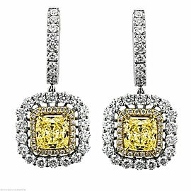 18K White Gold 2.20ct Diamond Citrine Long Earrings