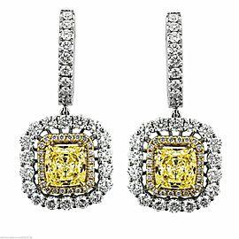 18K White Gold 2.20ct Diamond Citrine Long Earrings