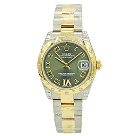 Women's Rolex Datejust Two-Tone w/ Green Diamond Dial & Diamond Bezel 178343
