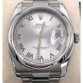 Rolex Datejust 116200 Silver Roman Dial Stainless Steel Box & Papers