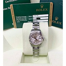 Rolex Ladies Datejust 179174 Silver Diamond Dial Stainless Steel & 18K Box Paper