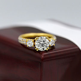 18k Yellow Gold Cocktail Ring featured with 3.06ct TCW Diamonds