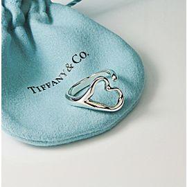 Tiffany & Co. Peretti Open Heart Silver Ring Retired Size 6.5