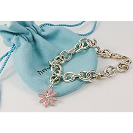 Tiffany & Co. Silver PINK Enamel Daisy Charm Donut Round Links Link Bracelet