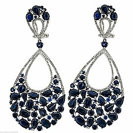 18k White Gold 1.02ct Diamond 25.00ct Sapphire Earrings