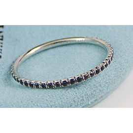 Tiffany & Co. 18K WG Iolite Metro Full Eternity Band Ring Rings Size 9