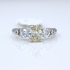 Light Yellow Cushion Diamond Engagement Ring 1.51ct 14k White Gold