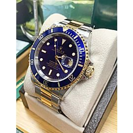 Rolex Submariner 16613 Blue Dial 18K Yellow Gold & Stainless Steel Box & Papers
