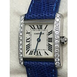 Cartier Tank Francaise 2403 Diamond Bezel 18K White Gold Box and Paper