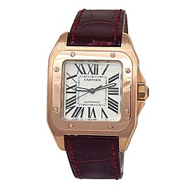 Cartier Santos 100 18k Rose Gold Automatic Ladies Watch W20108Y1