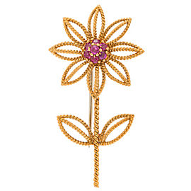 Authentic Vintage 1960's Tiffany & Co 18k Yellow Gold Flower Brooch with Rubies