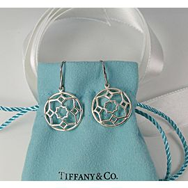 Tiffany & Co. Picasso Silver Zellige Medallion Drop Dangle Earrings RARE Retired