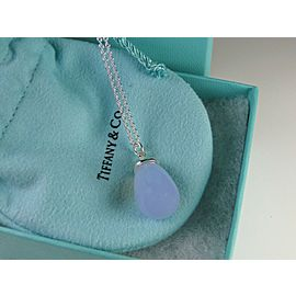 Tiffany & Co Silver Picasso 20 Carat Blue Chalcedony Pendant Necklace EUC