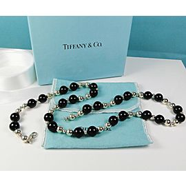 "Tiffany & Co. Onyx & Sterling Bead Necklace 22.5"" Long"