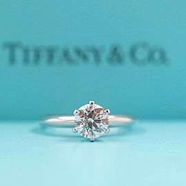 Tiffany & Co Platinum Diamond Engagement Ring Round 0.89 cts H VS1 Gem Report
