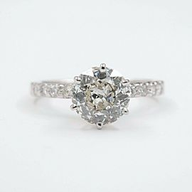 Old Cut Diamond Engagement Ring 1.94 tcw set in 14kt White Gold