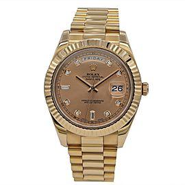 Men's Rolex Day Date II 18k Pink Everose w/ Pink Diamond Dial 218235