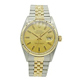 Mens Rolex Datejust Two Tone Stainless S. & Yellow Gold w/ Champagne Dial 1601