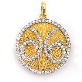 David Webb Zodiac Aries Diamond Pendant 18k Yellow Gold & Platinum 5.15 tcw
